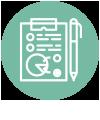 pictogramme crayon et statistiques